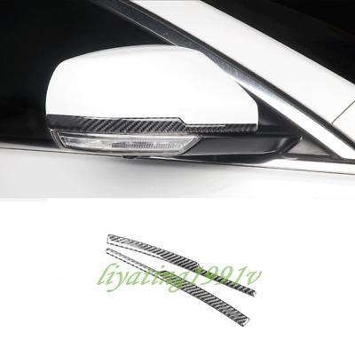 Real Carbon Fiber Rearview Mirror Cover Trim Strips For Cadillac ATS ATS-L 14-19