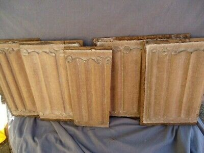 Five 16Th Century Oak  Style Carved And Limed  Linen Fold  Panels