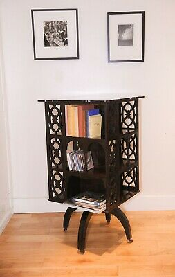 Gothic Victorian Mahogany Revolving Library Bookcase with Quartrefoil sections