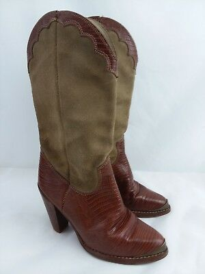 d4042897036 VINTAGE ZODIAC COWBOY Boots Sz 7.5M Brown Cream 206099 Womens ...