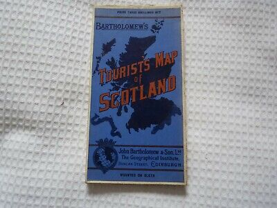 "Vintage Bartholomew's Revised ¼"" General Tourist Map of Scotland  - Cloth - 1924"