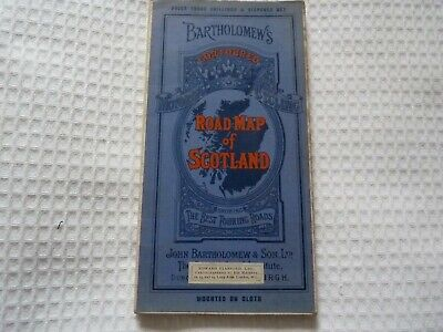 "Vintage Bartholomew's Revised ¼"" Contoured Road Map of Scotland - Cloth - 1920"