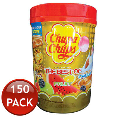 150 x CHUPA CHUPS LOLLIPOPS HARD LOLLIES CANDIES ASSORTED FLAVOUR JAR BULK 12g