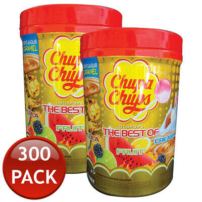 300 x CHUPA CHUPS LOLLIPOPS LOLLIES CANDIES ASSORTED FLAVOUR JAR BULK PARTY 12g