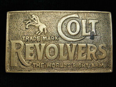 QB15166 VINTAGE 1970s **COLT REVOLVERS WORLD'S RIGHT ARM** SOLID BRASS BUCKLE
