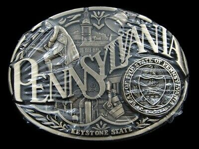 RK13156 *NOS* VINTAGE 1970s *PENNSYLVANIA* COMMEMORATIVE SOLID BRASS BELT BUCKLE