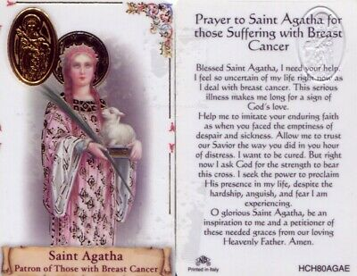 Prayer St Agatha for those suffering with Breast Cancer Laminated Card HCH80AGAE