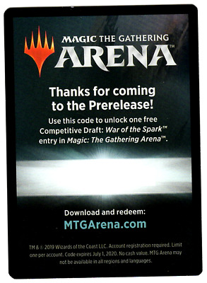 Magic: the Gathering WAR OF THE SPARK PRERELEASE DRAFT CODE MAILED OR DELIVERY