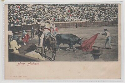"Spain ""Bullfighting"" Titled Aux Arenes Coloured Postcard Unposted c1905/10s"