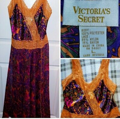 Vtg Victoria Secret Gold Label Sheer W/ Lace Paisley  Floral Nightgown Large