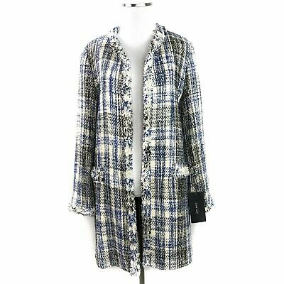 5784443f ZARA FRINGE COAT Sz S Embroidered Jacquard Long Jacket Boho Aztec ...