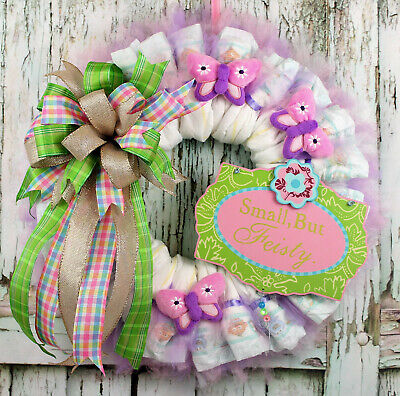 "Spring Wreath, Spring/Summer Diaper Wreath Baby Girl "" Small But Feisty """