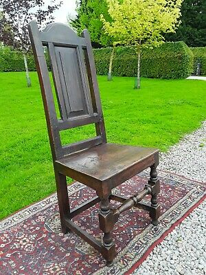 Antique Oak Dining Side Chair. Circa 1700.