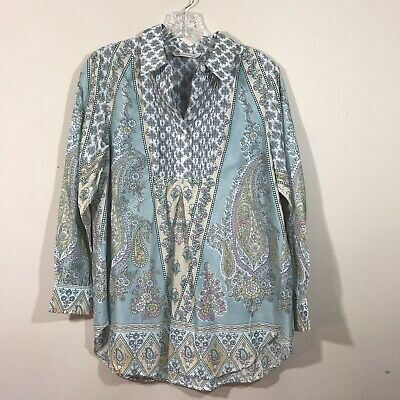 aa49df6442b Soft Surroundings PM Petite Medium top blouse long sleeve blue floral print