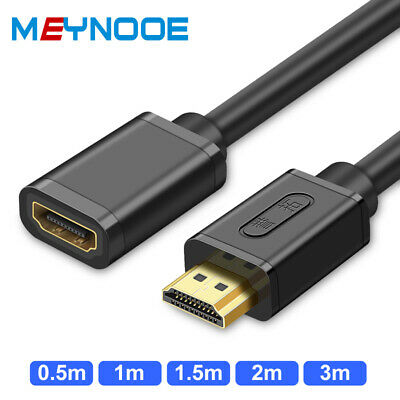 3ft 6ft 10ft 4K x2K HDMI Male to Female Extension Cable Extender 2160P HDTV Gold