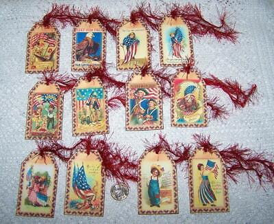 Collectibles Primitive~vintage Style~july 4th~patriotic~linen Cardstock~gift~hang~tags