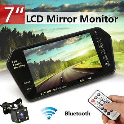 7''TFT LCD Bluetooth Car Rear View Cam Parking Mirror Monitor+Reversing Camera3c