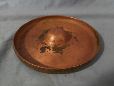 VTG RARE Antique Hand Wrought Hammered Copper ASHTRAY Signed E.T.C.FISH TIOGA PA