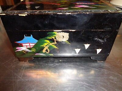 Vintage Oriental Asian Jewelry Box  Black Lacquer Mother-Of-Pearl Inlay Working