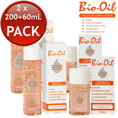 2 x BIO-OIL SPECIALIST SKINCARE OIL SCARS STRETCH MARKS SKIN MOIST 200mL + 60mL