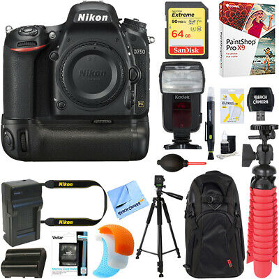 Nikon D750 24.3MP DSLR Camera Body + Deluxe Power Battery Grip & Accessory Kit
