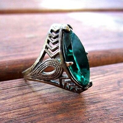 Vintage Art Deco Filigree Ring - Deep Teal Glass Stone - Size 4.5 - 1920s