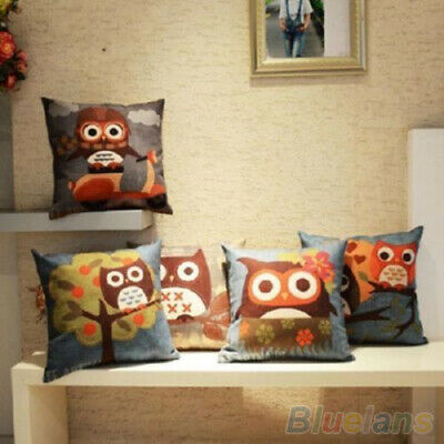 Square Cotton Linen Owl Printed Throw Pillow Case Car Sofa Cushion Cover Lovely