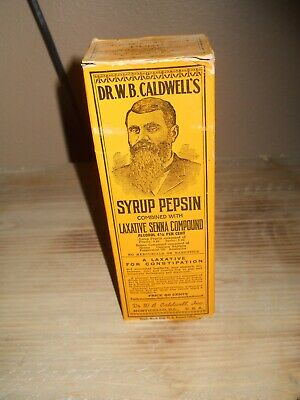 vintage full unopened bottle of dr. w.b. calwell pepsin syrup.box & insert.mint*