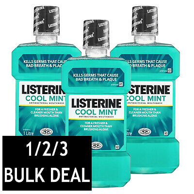 Listerine Cool Mint Antiseptic Mouthwash Gingivitis Mouth Wash Gums Oral Care 1L