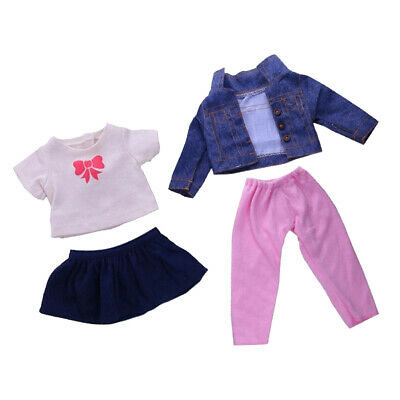 4pcs Cute Clothes Coat with Skirt Set for AG American Doll 18inch Doll Decor