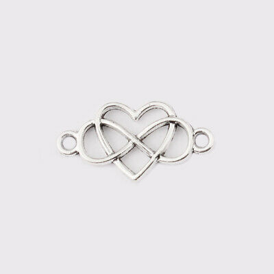 20Pcs Antique Silver Heart Infinity Charm Connector for Jewelry Bracelet Making