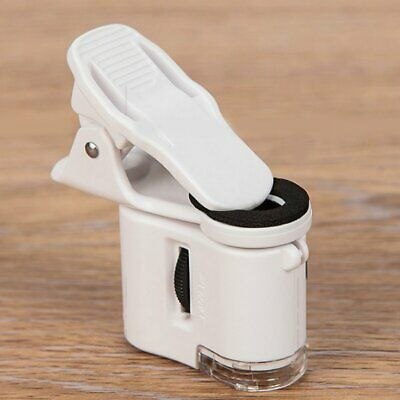 60X Mini Microscope Phone Camera Clip with LED Jewelry Antiques Magnifier
