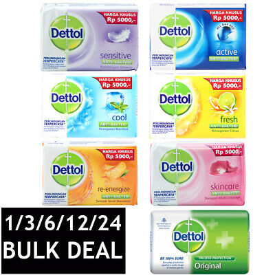 DETTOL ANTIBACTERIAL SOAP BAR HAND FACE BODY WASH DEEP CLEANSING ASSORTED 110g