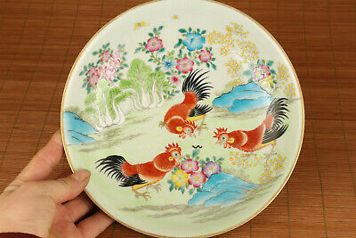 antique chinese old porcelain hand painting cock statue plate home ornament