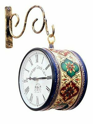 """Vintage Double Sided Clock Hand Painted Antique Station Wall Hanging Clock 6"""""""