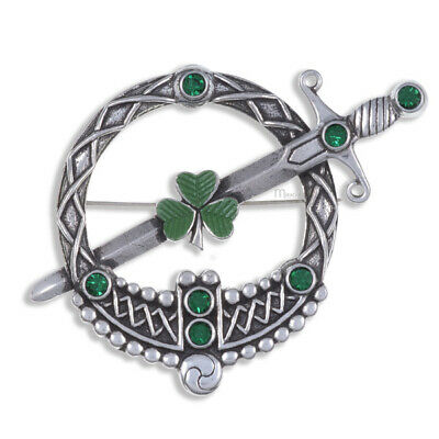 Miracle Irish Shamrock Tara Brooch in antique Pewter Emerald  50%SALE was £18.00
