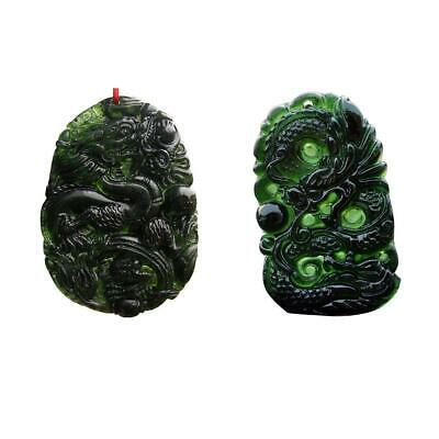 Natural Green Jade Hand Carved Chinese Dragon Charm Necklace Jewelry Pendant