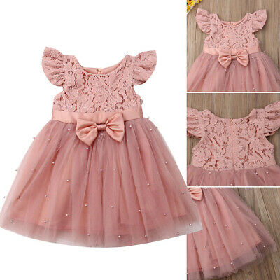 Summer Kids Baby Girls Pageant Princess Lace Bowknot Tulle Tutu Dress Clothes