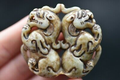 Chinese Ancient Hand carved exquisite old jade Amulet Pendant C355