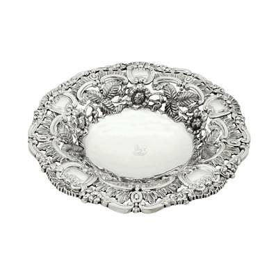 """Antique George Iv Sterling Silver 10"""" Pierced Dish / Bowl - 1821"""