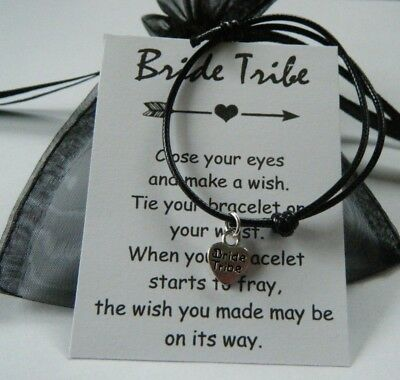HEN PARTY GIFT BRIDE TRIBE WISH BRACELET CARD FAVOR in organza bag COLOUR CHOICE