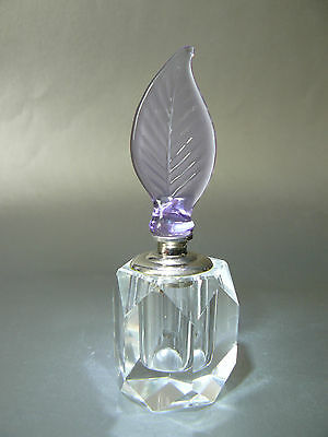 Faceted Crystal Glass Vanity Perfume Bottle Decanter with Glass Dauber- New