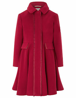 Girls Monsoon Red Penelope Frill Pleat Flare Victoria Princess Coat 3 to 13 Year