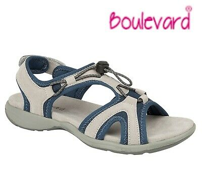 LADIES LEATHER Touch Fastening Walking SPORT Sandals  Grey Blue Size 3 4 5 6 7 8