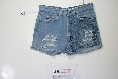 Levis Short 545 Customized (cod. WB27) jeans Tg.46 W32 DONNA Strass remake