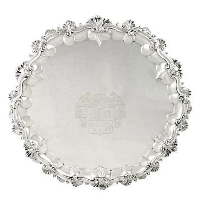 Heavy Antique William Iv Sterling Silver 16″ Tray / Salver 1834