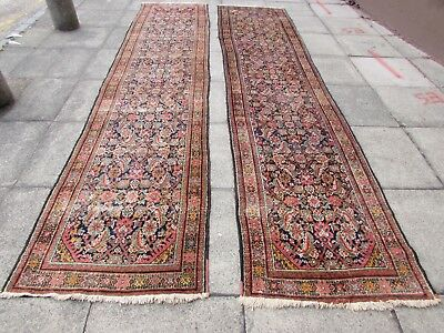 Antique Traditional Hand Made Persian Oriental Wool Blue Pair Runners 395x90cm