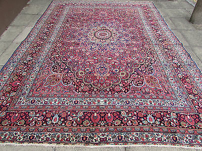 Vintage Antique Hand Made Traditional Rugs Oriental Wool Red Carpet 382x270cm