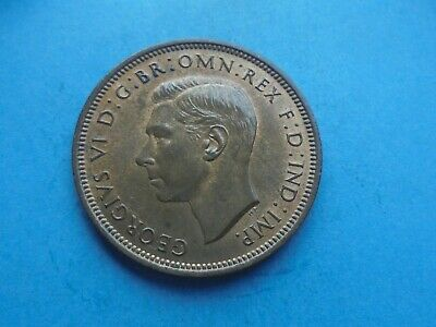 George VI Halfpenny, 1938, Excellent Condition.