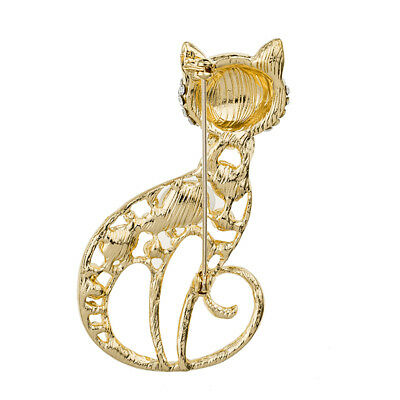Luxury Gold Toned Crystal Rhinestone Cat Brooch Pin Corsage Shawl Pin DS